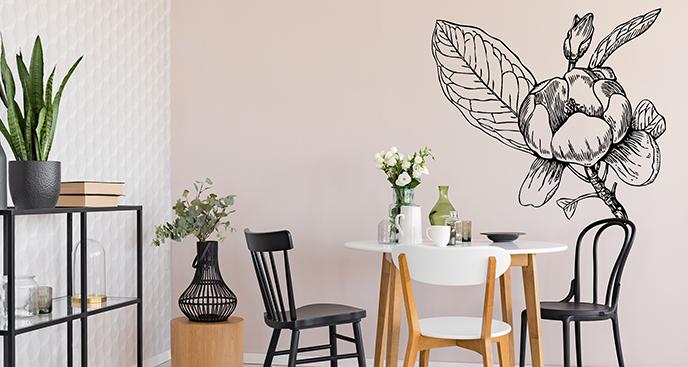 Czarno-biała naklejka magnolia