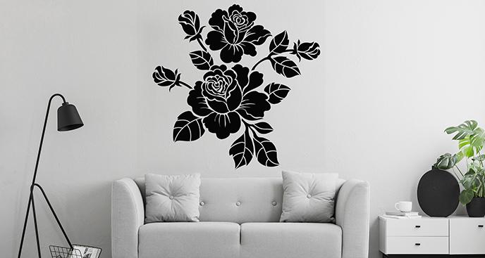 Czarno-biała naklejka róże