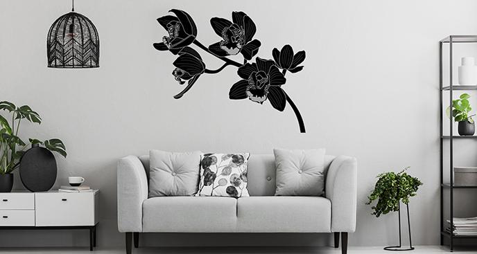Czarno-biała naklejka storczyki