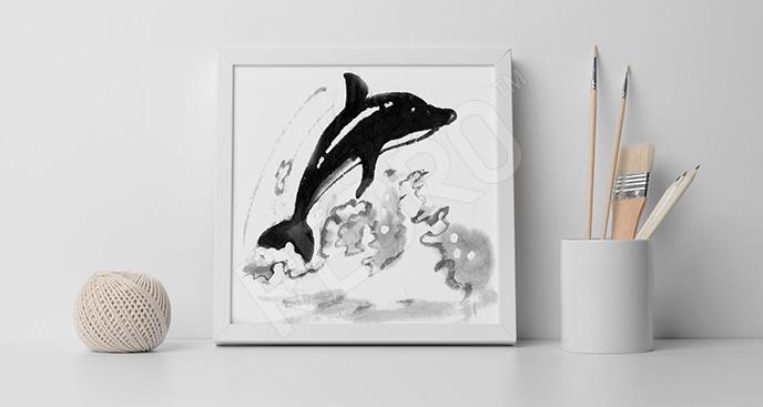 Czarno-biały obraz delfin