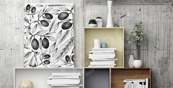 Czarno-biały obraz owoce