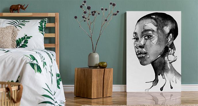 Czarno-biały obraz z portretem