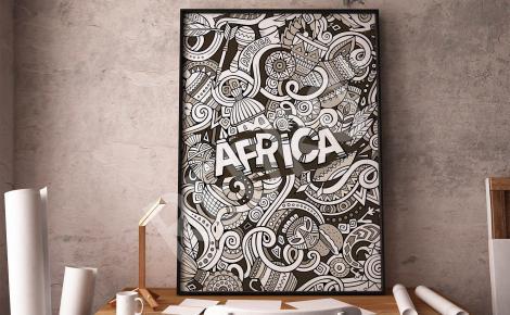 Czarno-biały plakat Afryka