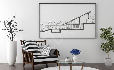 Czarno-biały plakat architektura