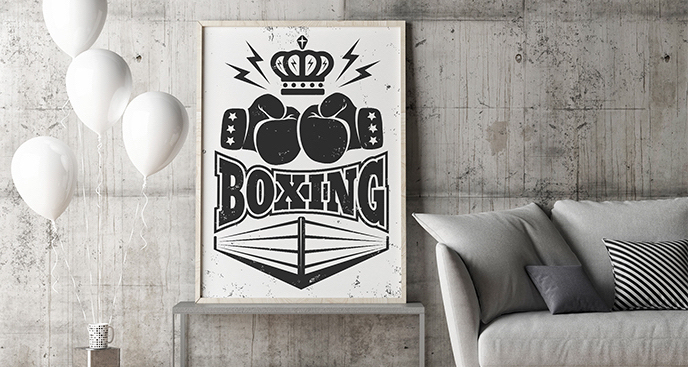 Czarno-biały plakat boks