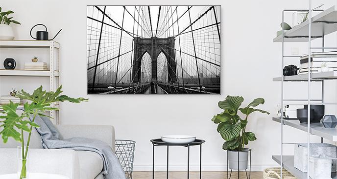 Czarno-biały plakat Most Brookliński