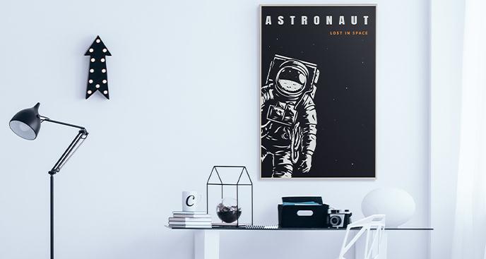 Czarno-biały plakat z astronautą