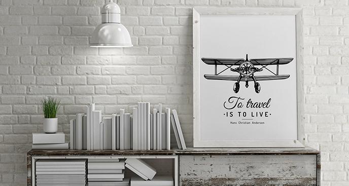 Czarno-biały plakat z dwupłatowcem