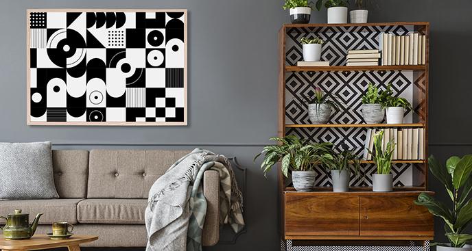 Czarno-biały plakat z geometrią