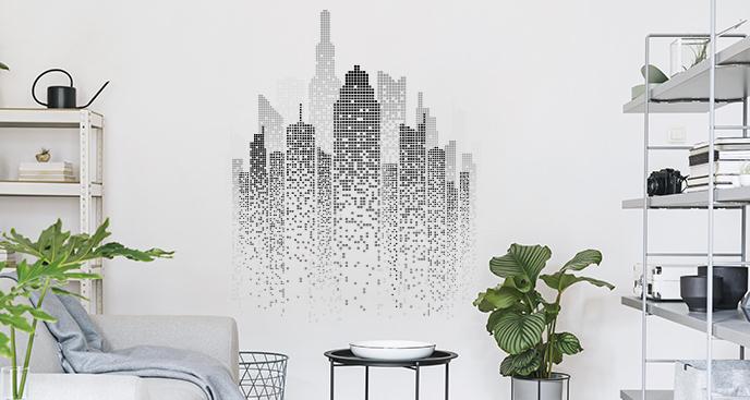 Dekoracyjna naklejka z miejskim pejzażem
