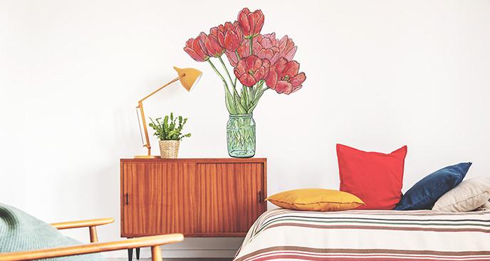 Dekoracyjna naklejka z tulipanami