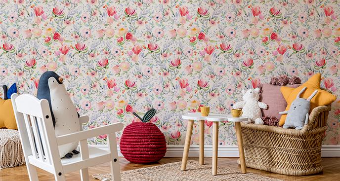Dziecięca tapeta w stylu floral