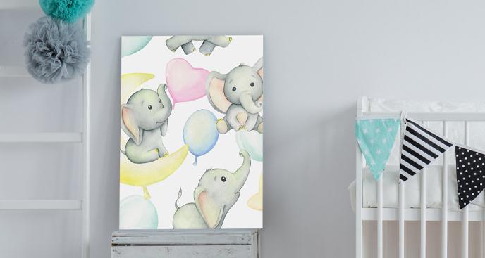 Dziecięcy obraz ze słonikami