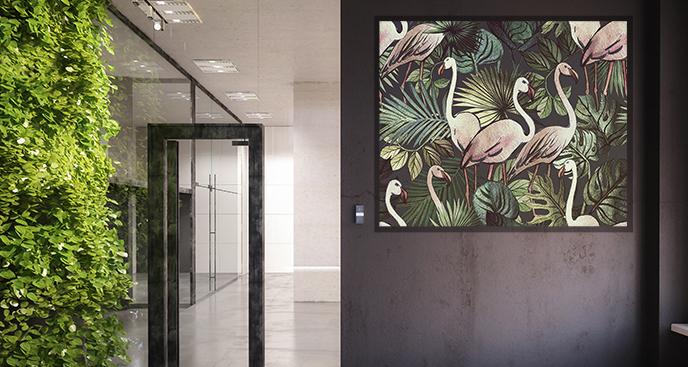 Egzotyczny plakat z flamingami