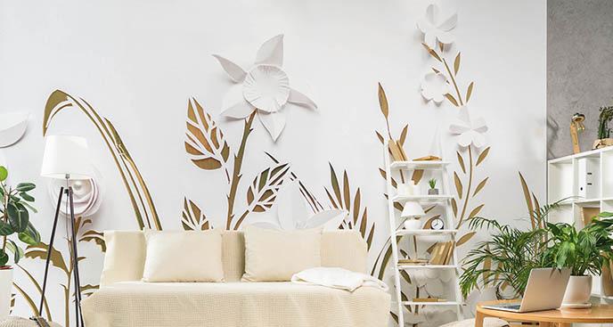Fototapeta 3D białe kwiaty