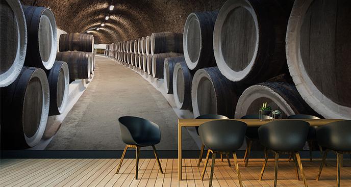 Fototapeta beczki w winiarni