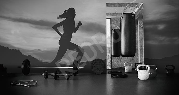 Fototapeta bieganie czarno-biała