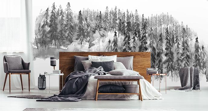 Fototapeta czarno-biała las