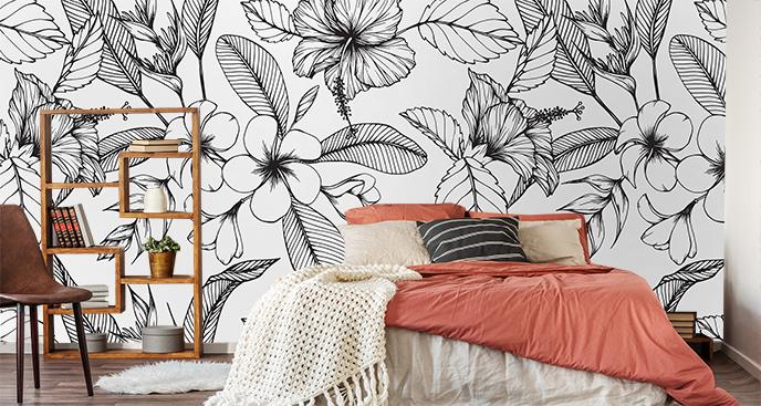 Fototapeta czarno-białe kwiaty hawajskie