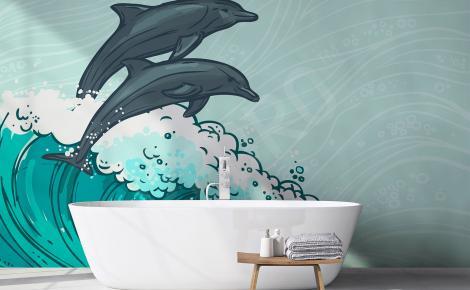 Fototapeta delfiny fala do łazienki