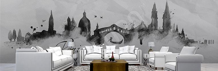 Fototapeta do hotelu czarno-biała panorama miasta