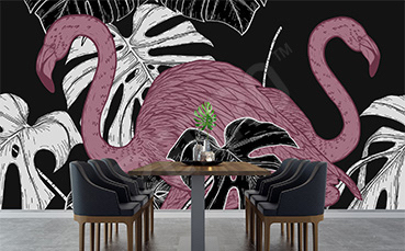 Fototapeta do jadalni różowe flamingi