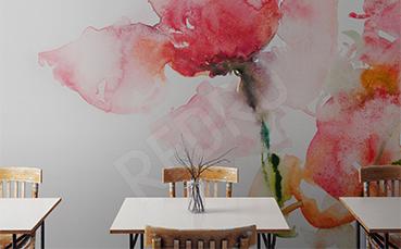 Fototapeta do kawiarni czerwone kwiaty