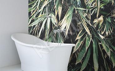 Fototapeta do łazienki zielone liście