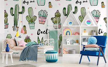 Fototapeta do pokoju dziewczynki kaktusy