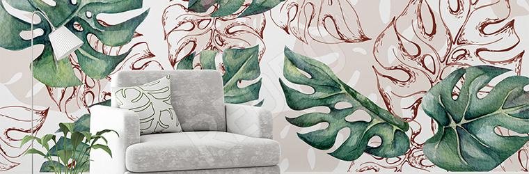 Fototapeta do salonu z tropikalnymi liśćmi