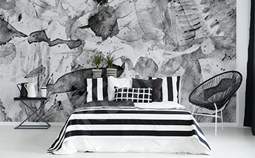 Fototapeta do sypialni czarno-biała abstrakcja