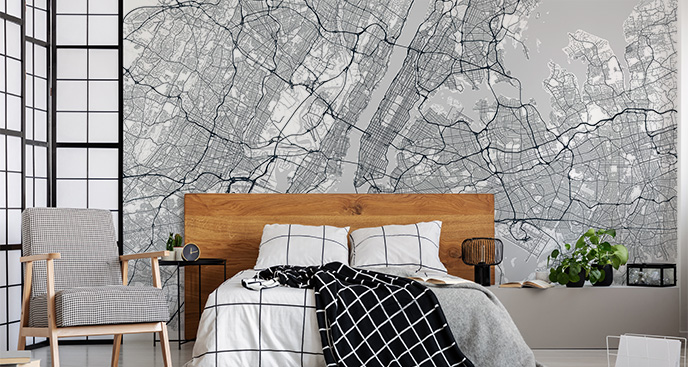Fototapeta do sypialni – plan miasta