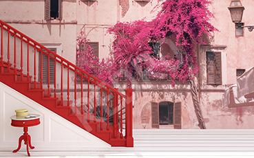 Fototapeta dom z kwiecistym balkonem