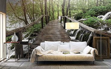 Fototapeta drewniany most nad wodospadem