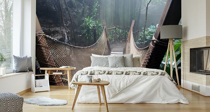 Fototapeta drewniany most w dżungli