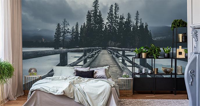 Fototapeta drewniany most zimą