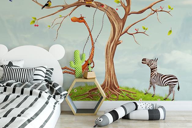 Fototapeta - Drzewko ze zwierzątkami