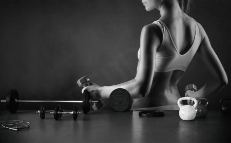 Fototapeta fitness czarno-biała