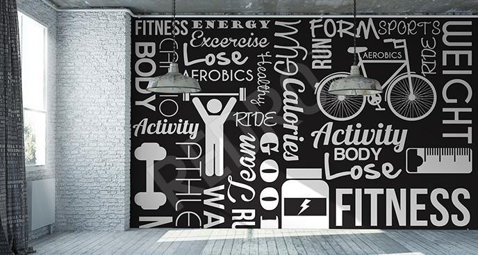 Fototapeta fitness w czerni i bieli
