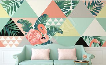 Fototapeta flamingi i trójkąty
