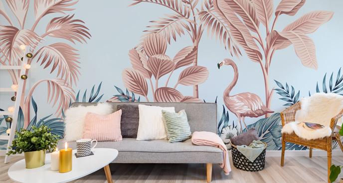 Fototapeta flamingi w stylu vintage