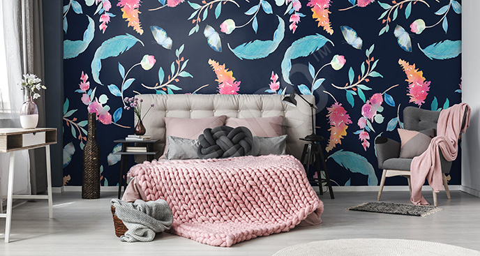 Fototapeta floral style i pióra