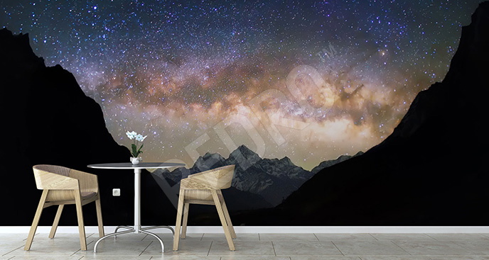 Fototapeta galaktyka i krajobraz górski