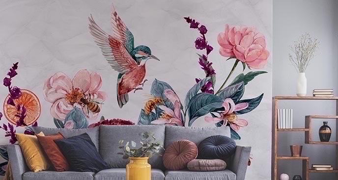 Fototapeta koliber wśród kwiatów