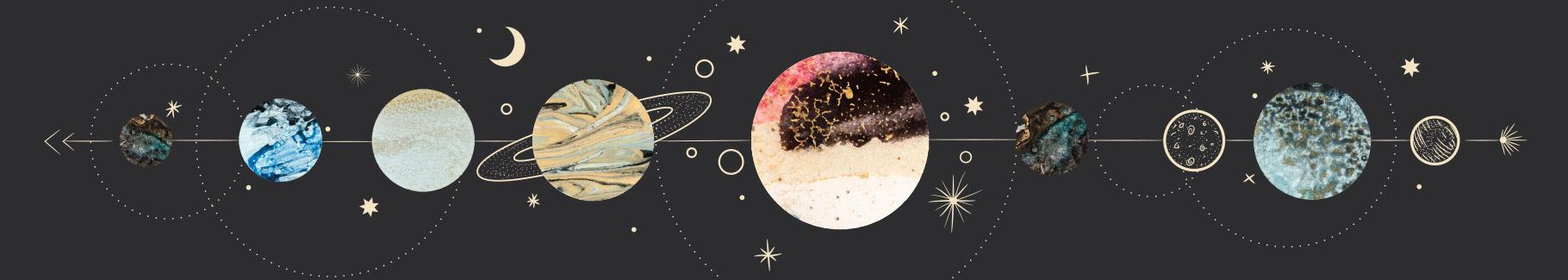 Fototapeta kosmos z fazami księżyca
