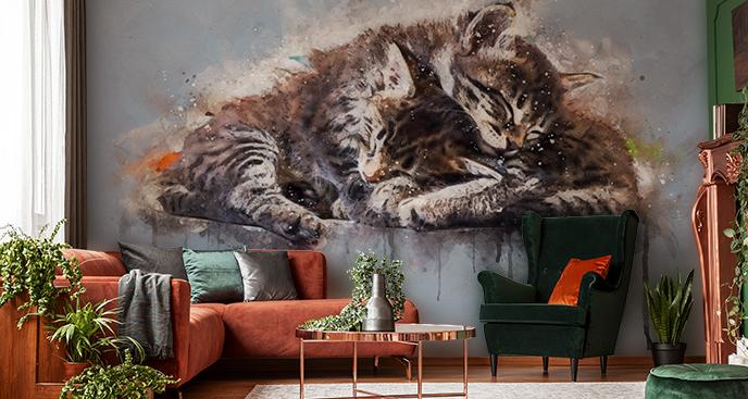 Fototapeta koty w trakcie snu