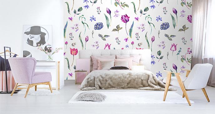Fototapeta kwiaty malowane akwarelą