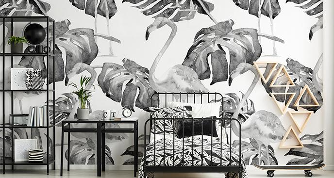 Fototapeta liście i flamingi