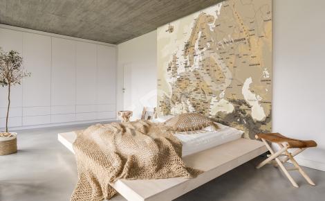 Fototapeta mapa Europy do sypialni