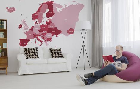 Fototapeta mapa polityczna do nowoczesnego salonu